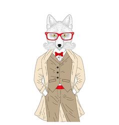 Brutal fox in elegant classic suit with coat Hand vector