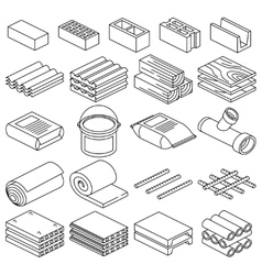 Building and construction materials linear vector