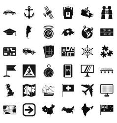 Cartography icons set simple style vector
