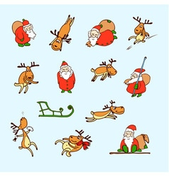 Cartoon christmas set santa claus reindeer vector