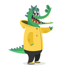 Cartoon hipster crocodile in a yellow rain coat vector