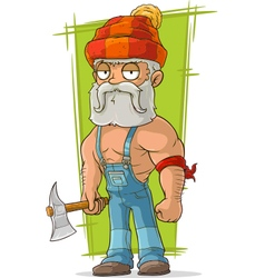 Cartoon old lumberjack in red cap vector image