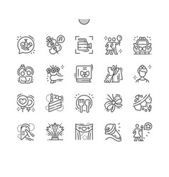celebrations well-crafted pixel perfect icons vector image