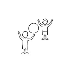 Child playing with friend hand drawn sketch icon vector