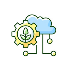 Cloud computing in farming rgb color icon vector
