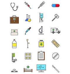 Colorful medicine icons set vector image