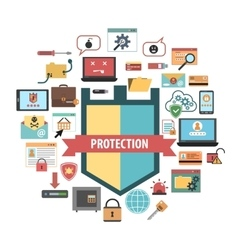 Computer protection security concept icons vector