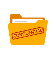 Confidential stamp on folder isolated on a white vector