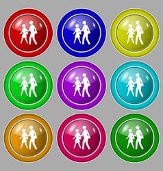 Crosswalk icon sign symbol on nine round colourful vector