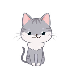 Cute cartoon cat sitting and smiling vector