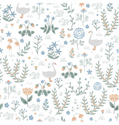 cute seamless pattern with goose and doodle vector image