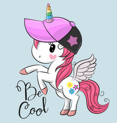 Cute unicorn with a cap vector