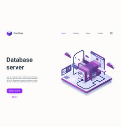database server technology isometric landing page vector image