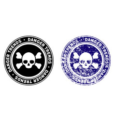 Deadly danger trends stamp with distress effect vector