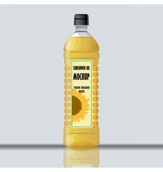 Digital yellow sunflower oil plastic bottle vector image