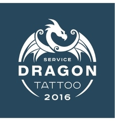 dragon logo tattoo service in style the flat vector image