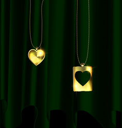 Drape and golden pendants of two hearts vector