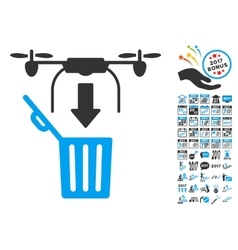 Drone Drop Trash Icon With 2017 Year Bonus vector image