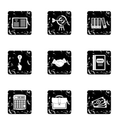 Earnings icons set grunge style vector