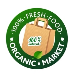Eco Market Badge Promo Paper bags and leaves on vector