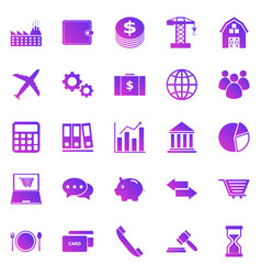 economy gradient icons on white background vector image