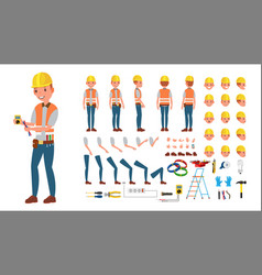 Electrician animated character creation vector