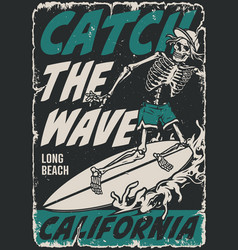 extreme surfing vintage poster vector image