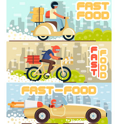 Fast food and pizza delivery flyers in flat style vector