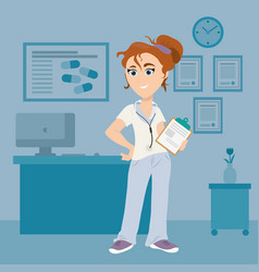 female doctor with clipboard in medical room vector image