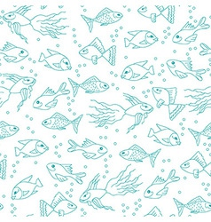 Fish in water seamless pattern vector image