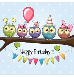 Five Cute Owls vector
