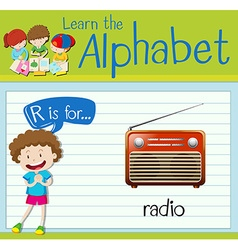 Flashcard letter R is for radio vector image