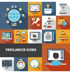 Freelancer Icons Set vector image