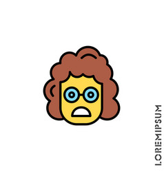 Frowning with open mouth girl woman emoji yellow vector