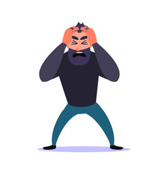 frustrated man clings to his head and screams guy vector image