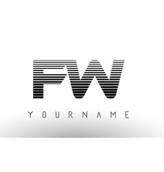 fw f w black and white horizontal stripes letter vector image