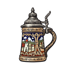 German stein beer mug with decorations in form vector