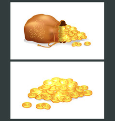 Golden coins in pirate bag vector