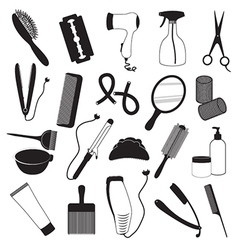 Hairdressing And Barber Shop Icons Set vector image