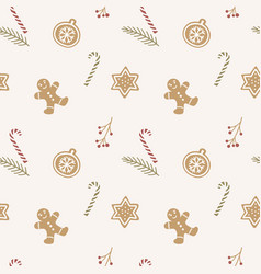 hand drawn seamless pattern with gingerbread vector image