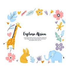 hand drawn square frame with african animals vector image
