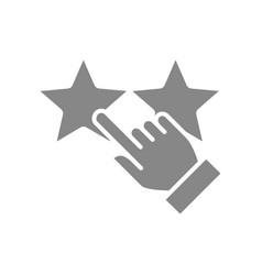 Hand puts two stars rating grey icon customer vector