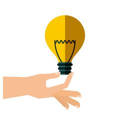 hand with bulb light vector image