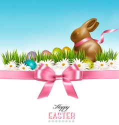 Happy easter background colorful easter eggs and vector