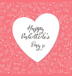 Happy valentines day greeting card in pink color vector