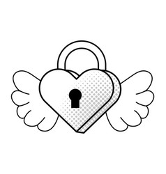Heart shaped padlock black and white vector