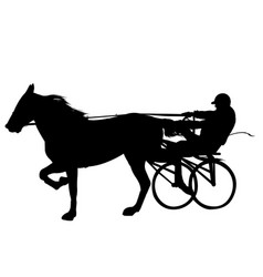 horse and jockey harness racing silhouette vector image