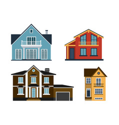 Houses front view building vector