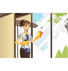 Housewife cleaning windows vector