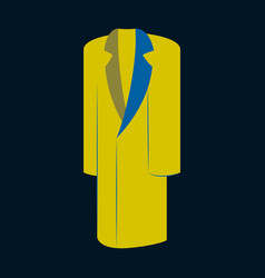 Icon in flat design fashion clothes long coat vector